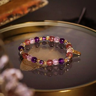 <Slow and warm natural stone series>C1212 Amethyst Strawberry Pink Crystal Bracelet