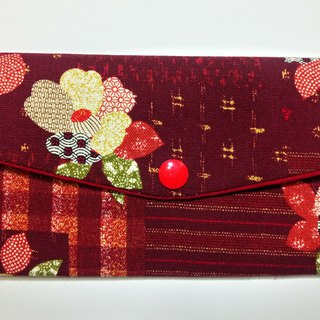Double red bag / passbook pouch (30 and dogwood flowers)