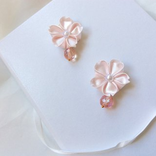 Pink ribbon earrings ear clip