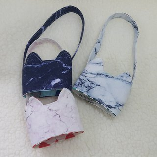 Marbling / tricolor cat ears with eco-friendly drink cup sleeve bag / double-sided available