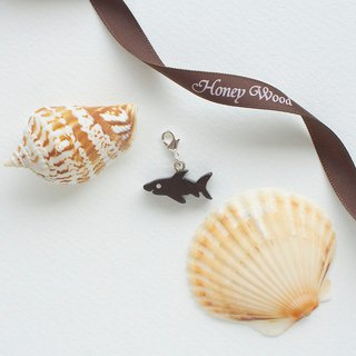 Shark wooden charm (can choose gold / silver plated Lobster clasp)