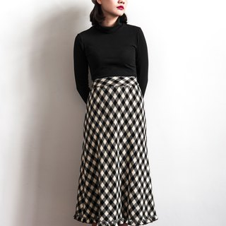 Vintage oblique grid pattern vintage wool skirt