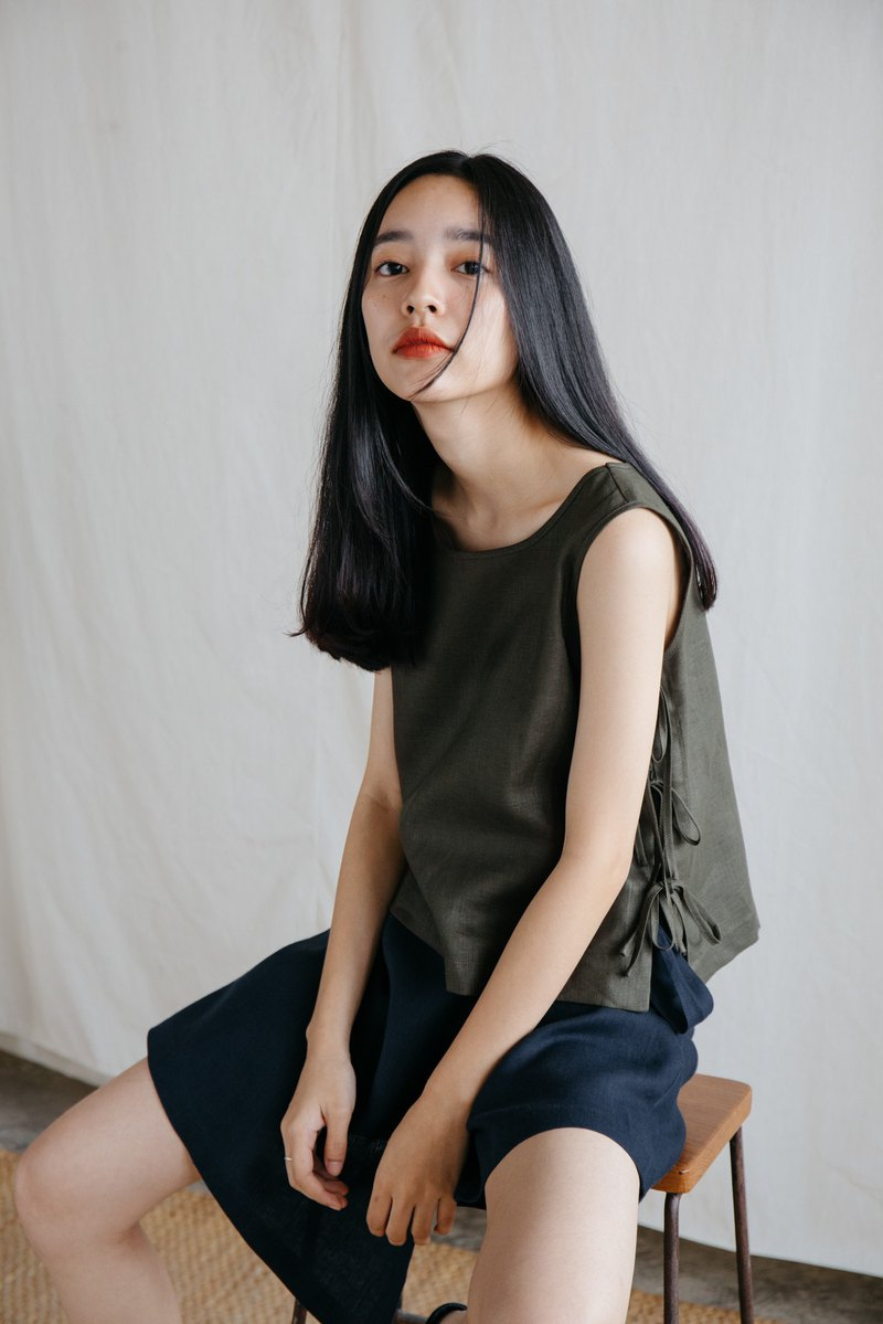 Tie Side Camisole Top in  Olive