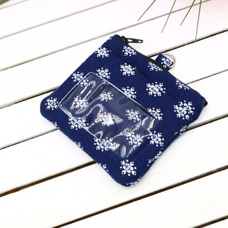 Dark blue snowflake ID set change / small wallet / zipper coin bag / business card holder / leisure card / identification card