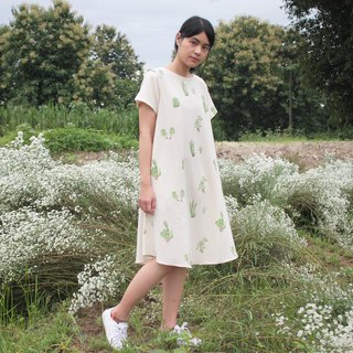 Cactus dress with pockets / 100% cotton 4 color silk screen
