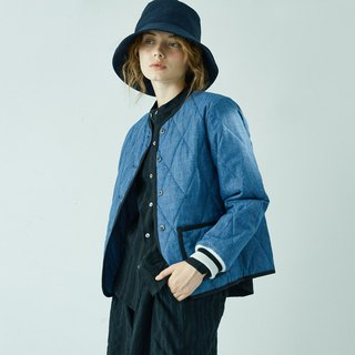 Denim quilted short coat