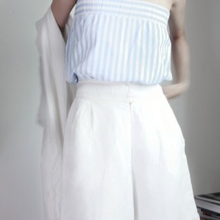 MaodiuL Bra or skirt with blue and white stripes with more