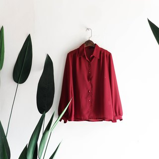 Heshui Mountain - Niigata dark red broken point love day antique yarn spinning shirt shirt shirt oversize vintage