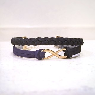 Handmade Double Braided Infinity Bracelets Rose Gold Series–black limited