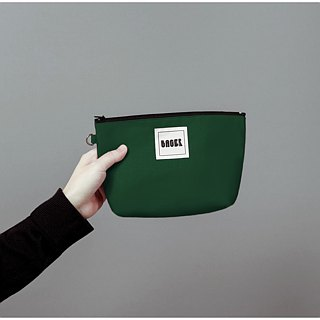 Bager Simple Plain Zipper Universal Bag / Dark Green