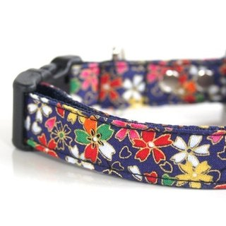 Sakura Japanese pattern navy blue collar medium size dog M size