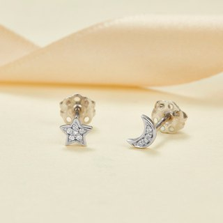 【PurpleMay Jewellery】18k White Gold Moon and Star Diamond Stud Earring E016