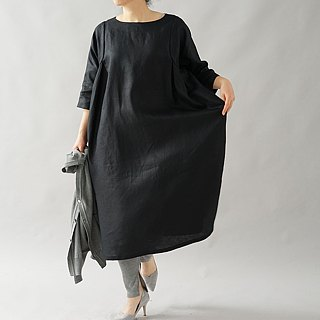 wafu   linen dress / loose fitting / oversize / midi length / black / a83-1