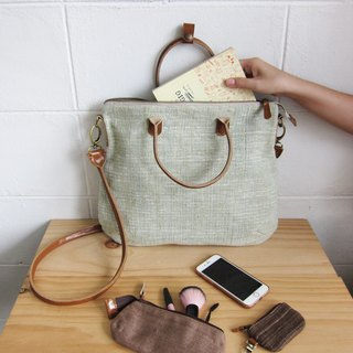 Crossbody Curve Bags Hand woven and Botanical dyed Cotton Green Color 斜背包