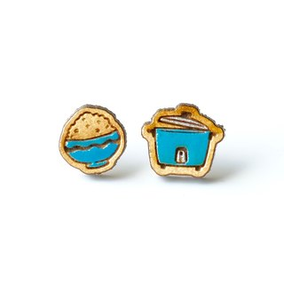 Painted wood earrings-Rice Cooker (blue)