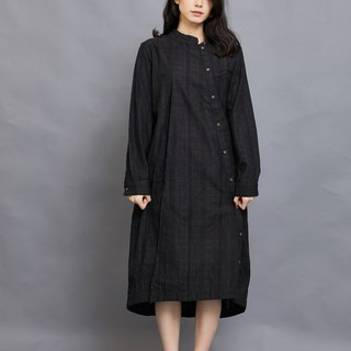 Bamboo long-sleeved shirt dress _ ink gray jacquard _ fair trade