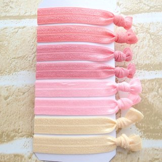 Hair Ties,Set of 8,Elastic Hairband,No Crease,Creaseless,Fold Over Elastic,Ponytail Holders,Bracelet,Pink,Solid