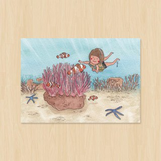 Coral and clownfish / sea otter / postcard