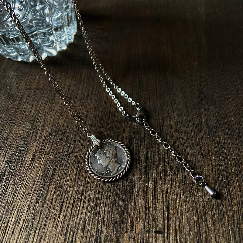 Antique silver coin necklace with silver thread trim