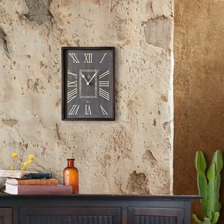 Wood wall clock- dark blue-mute -vantage-restro chic--wall decor-rectangle-
