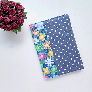 Book Cover (Flowers x White dots on blue)