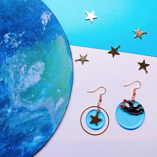 Spaceman and Star Earrings