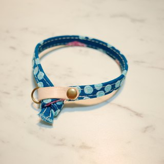 Cat collar Japanese cotton blue and green little jade blue double-sided design with bell planting 楺 skin
