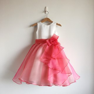 Flamingo Ball Gown Dress with Ruffle on front side