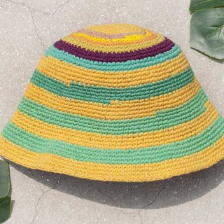 Crocheted cotton hat fisherman hat visor patch cap cotton and linen cap hand-knit hat - mango macarons