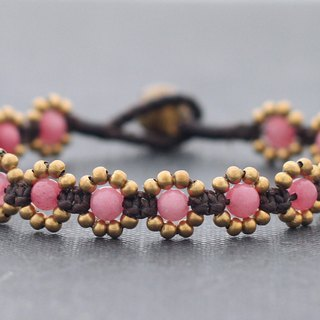 Rose Quartz Stone Love Cute Woven Bracelets Mini Daisy Brass Beaded Bracelets