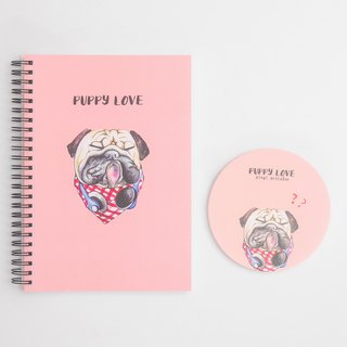 Pug A5 coil notebook + ceramic coaster sets パグPOPPY LOVE
