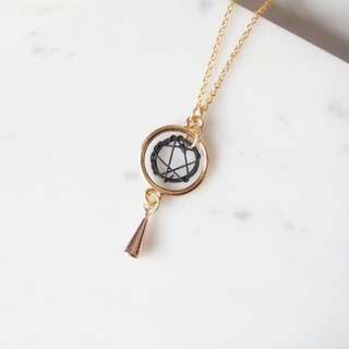 Ring Rotating Dream Catcher, Triangle Tapered, Gold Plated Copper Necklace (45cm)