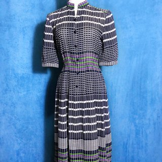 Cotton dot Plaid long-sleeved vintage dress / Bring back VINTAGE abroad