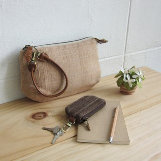Multi Purpose Pouch with Leather Strap Hand woven and Botanical Dyed Cotton Tan