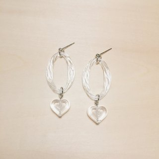 Full transparent spiral oval love earrings