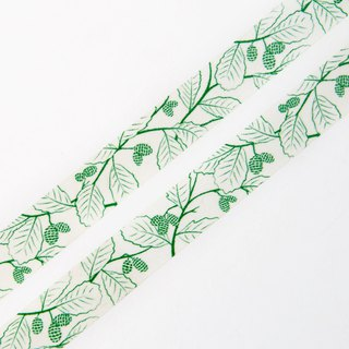 Green Alder Cones 15mm x 10m washi tape - Green Nature and Floral Pattern
