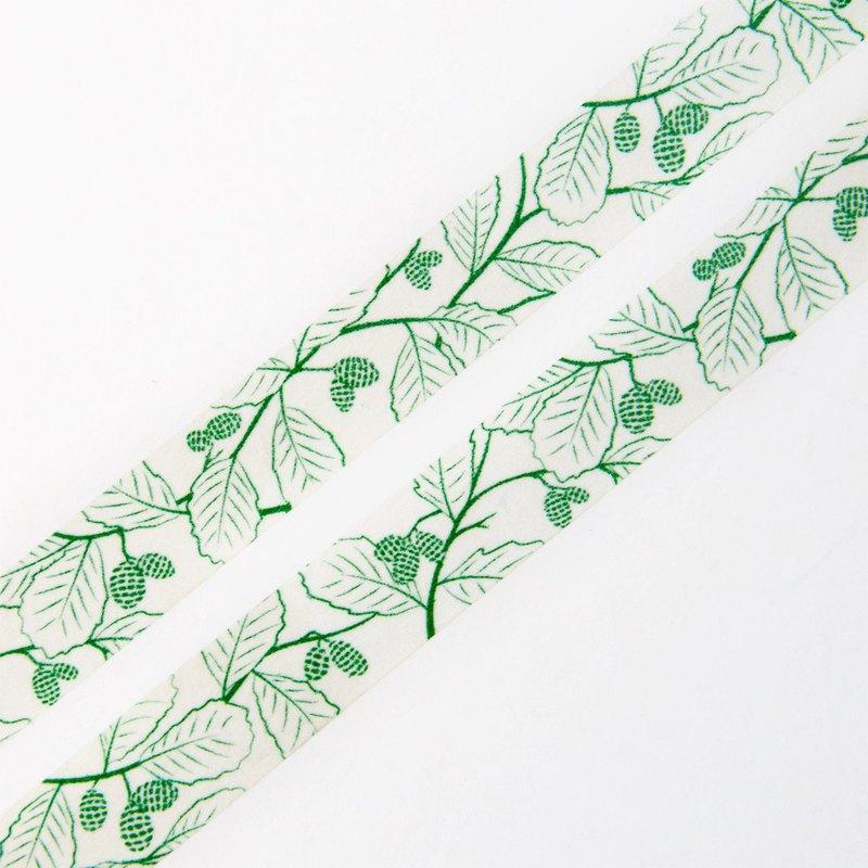 綠色榿木錐體 15 毫米 x 10 米和紙膠帶 - 綠色自然和花卉圖案