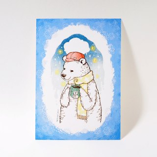Drink hot cocoa winter Bear (blue border) postcard stamp illustration