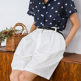 White high waist linen culottes shorts A word elastic waist hanging wide leg five points wide pants three colors