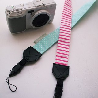 hairmo. Little stripe double-hung Strap - pink stripe + water green dot (double holes)