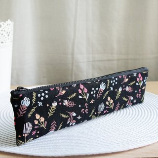 Lovely plant flower cutlery bag, pencil case, black, 23-24 cm chopsticks