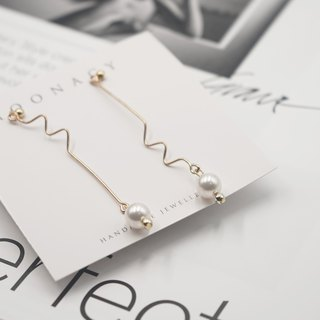 Irregular Geometry Swarovski Pearl Earring