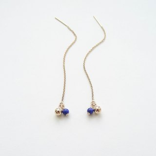 Mini Lapis Lazuli Beads & Gold Filled Balls 14K GF Threader Earrings