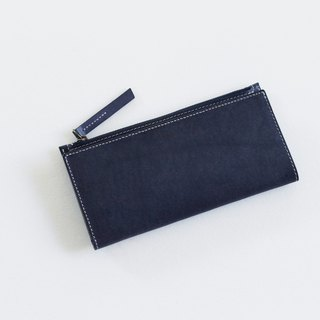 Italy deep sea blue vegetable tanned leather X powder gray calf leather zipper coin pocket six card long clip