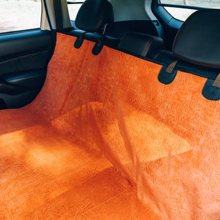 Pet special car rear mat (Orange) about 155X135cm
