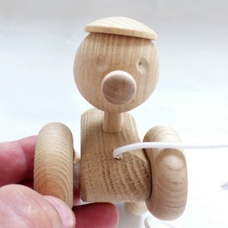 New Hand Crafted Natural Organic Solid Wood One Small Pull On The Wheels Toddlers Toy / Good Idea For A Gift / Size Approx 4.5 in or 11.4 cm