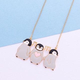 Happy dancing penguin hand made necklace