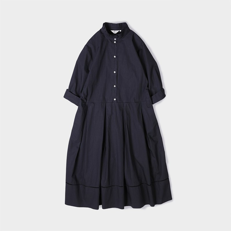 Pieced shirt dress with a cotton flounces collar