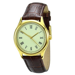 Backwards Watch Roman Gold Retro Unisex Free shipping worldwide