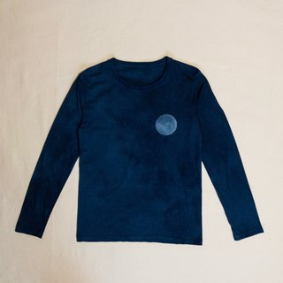 Indigo dyed Aizen - FULL MOON Long Sleeve Crew TEE